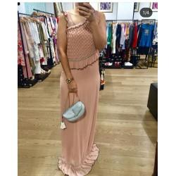 vestido largo rosa